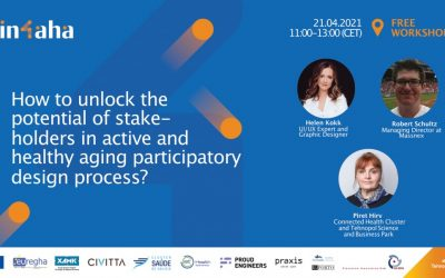 Vabilo na delavnico IN-4-AHA: How to unlock the potential of stakeholders in active and healthy aging participatory design process?, 21. 04. 2021 ob 13:00