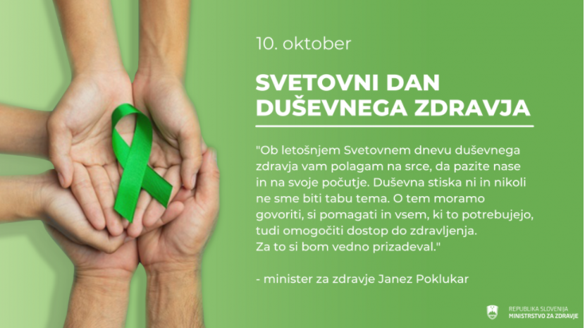 10. oktober – Svetovni dan duševnega zdravja – Duševna stiska nikoli ne sme biti tabu tema